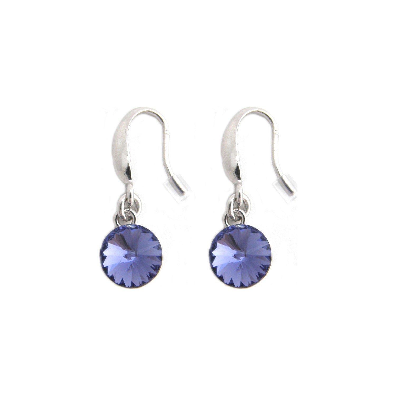 Boucles d'oreilles Indicolite Emily en argent et cristaux Swarovski violets