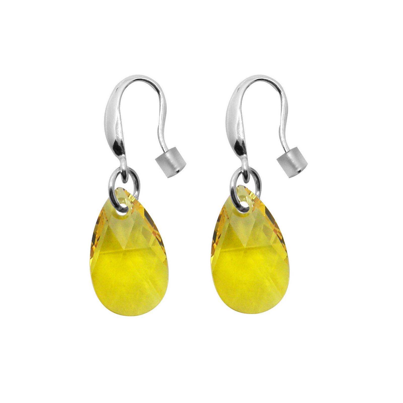 Boucles d'oreilles Indicolite Larme en argent et cristaux Swarovski jaunes