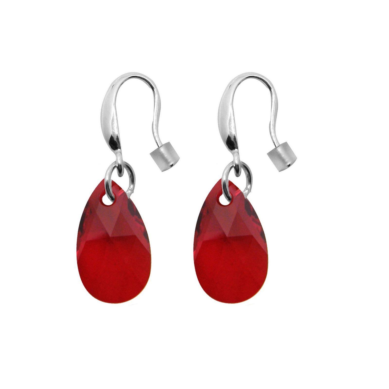 Boucles d'oreilles Indicolite Larme en argent et cristaux Swarovski rouges