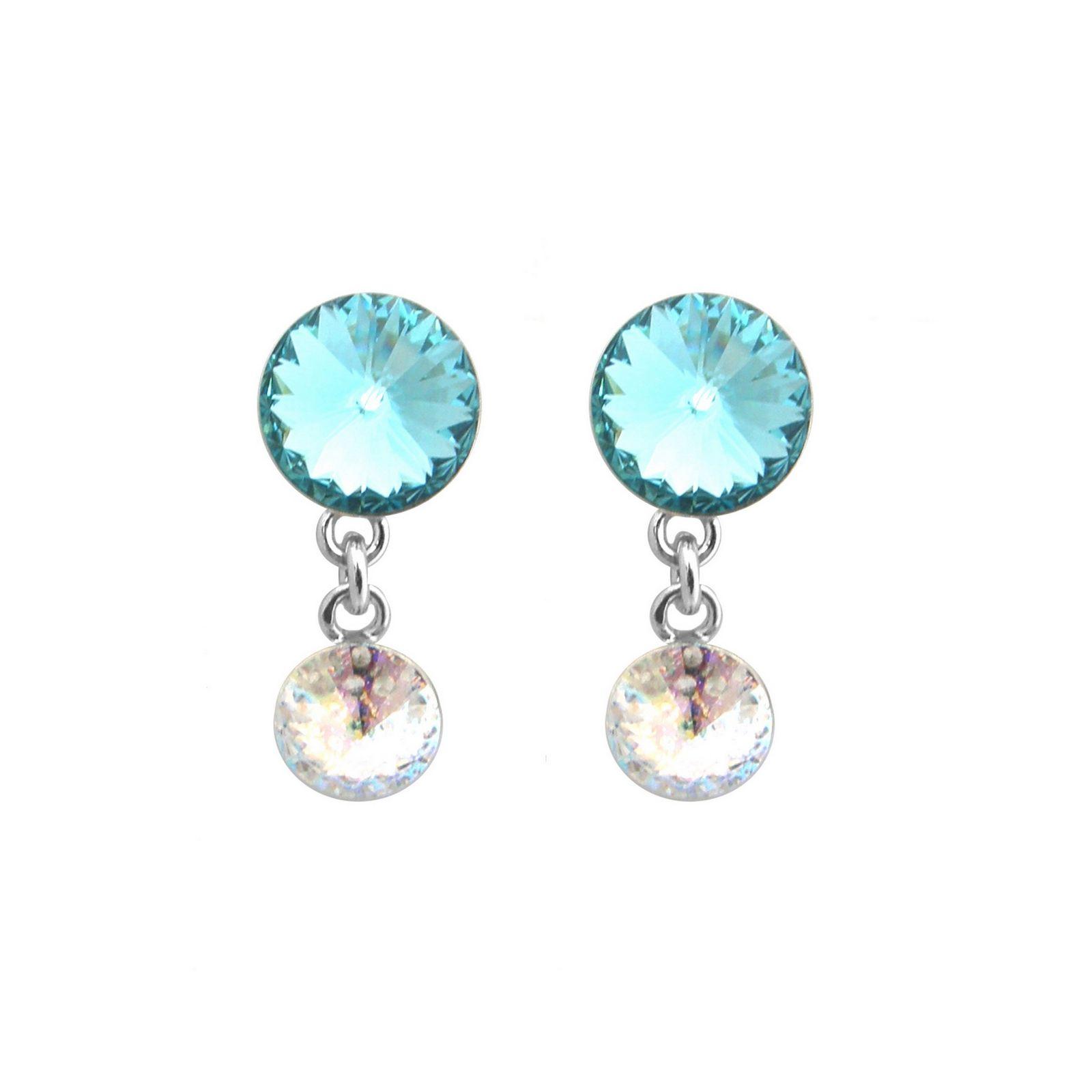 Boucles d'oreilles Indicolite Ricochet en argent et cristaux Swarovski turquoises et blancs