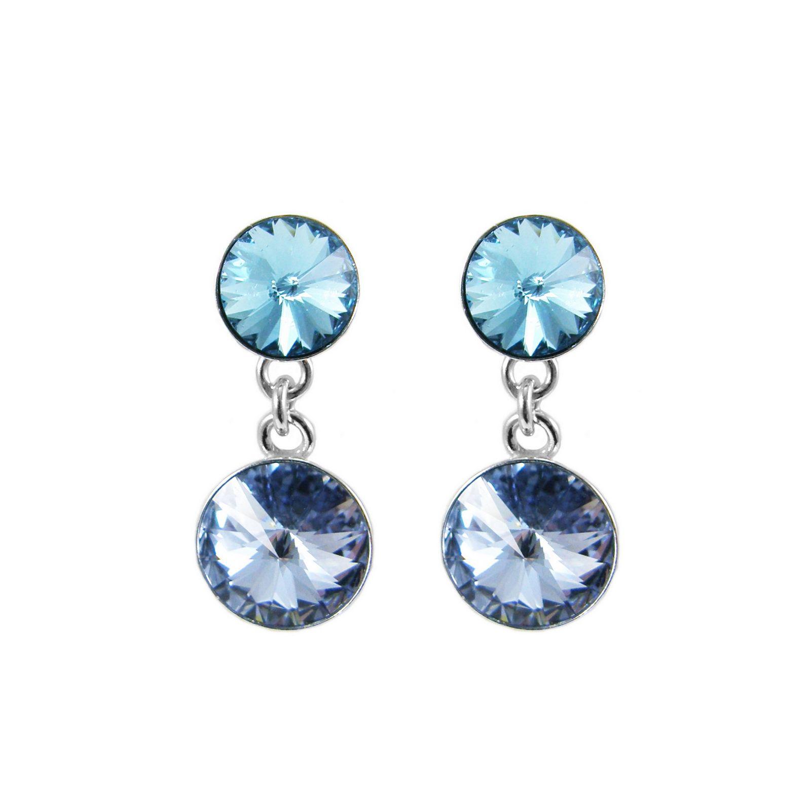 Boucles d'oreilles Indicolite Ricochet en argent et cristaux Swarovski turquoises