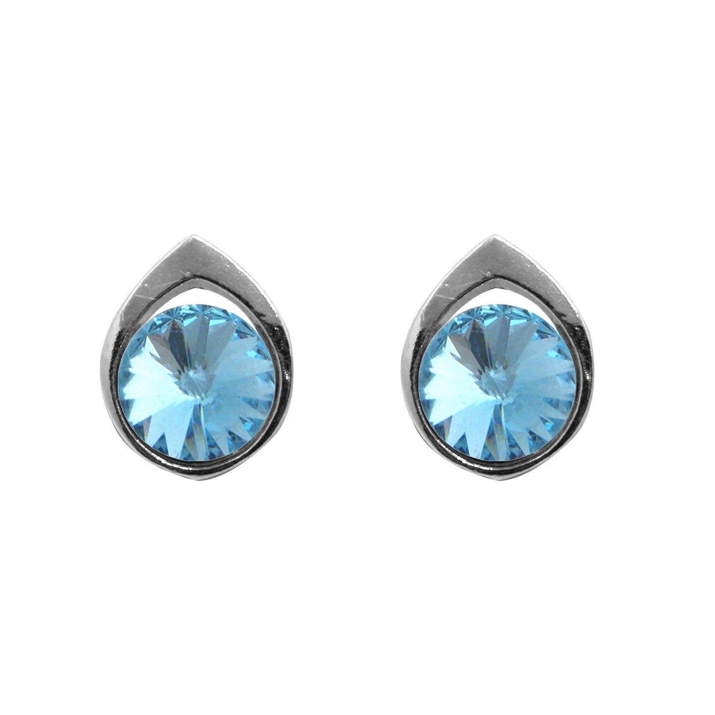 Boucles d'oreilles Indicolite  en argent et cristaux Swarovski bleus