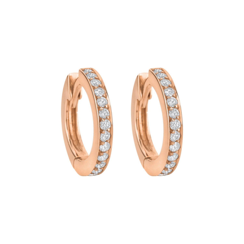 Boucles d'oreilles créoles Ruban PM de diamants taille brillant en or rose
