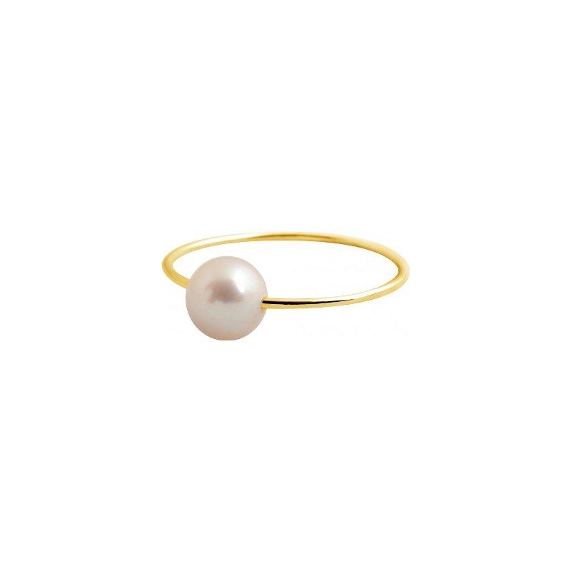 Bague Claverin Simply Pearly en or jaune et perle blanche vue 1