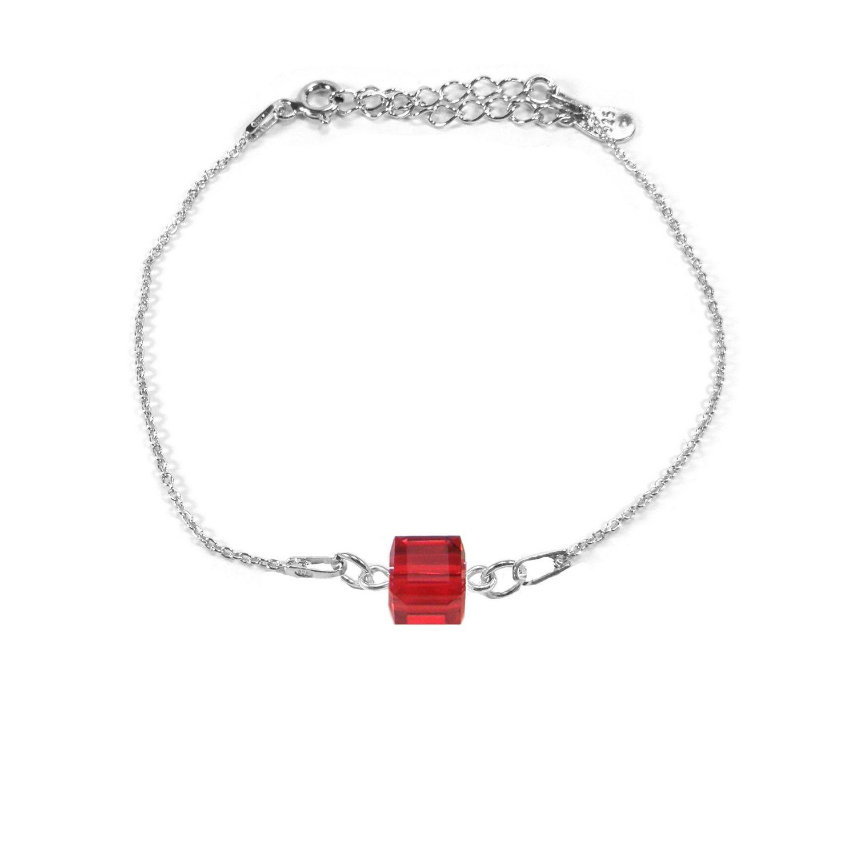 Bracelet Indicolite Pixel Carré en argent et cristaux Swarovski rouges