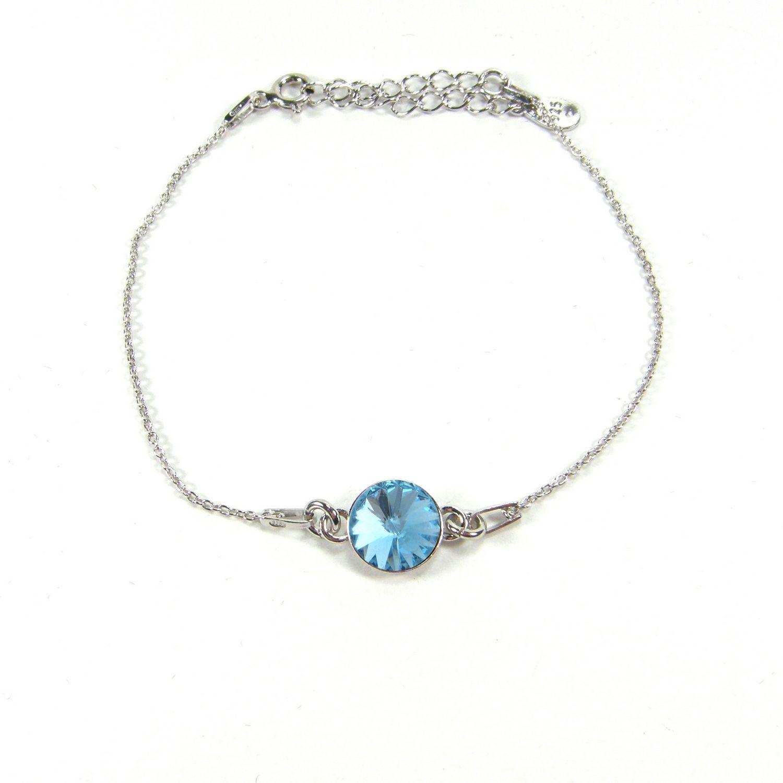 Bracelet Indicolite Emily en argent et cristaux Swarovski turquoises