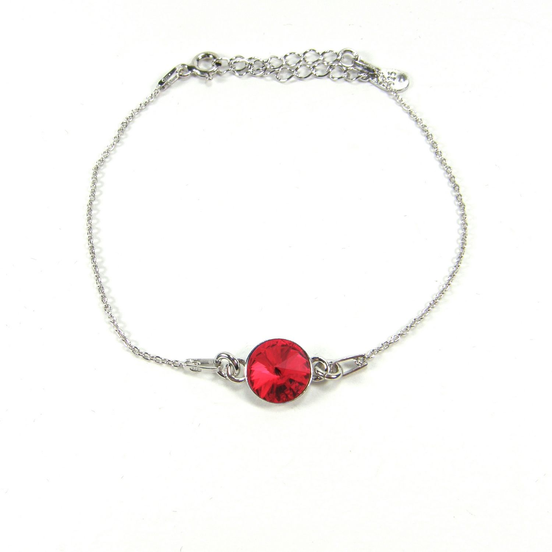 Bracelet Indicolite Emily en argent et cristaux Swarovski rouges