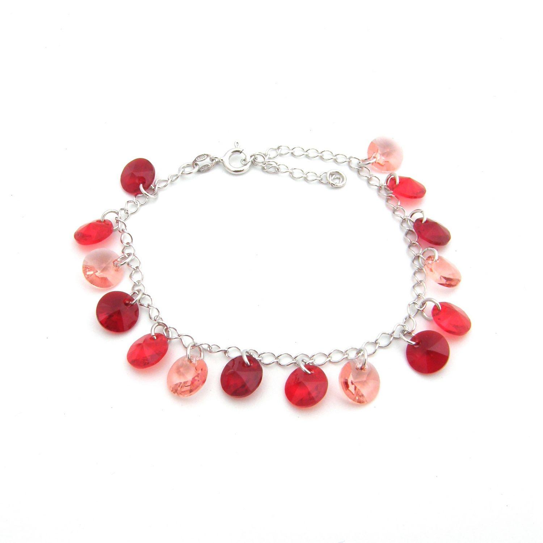 Bracelet Indicolite Helen en argent et cristaux Swarovski rouges
