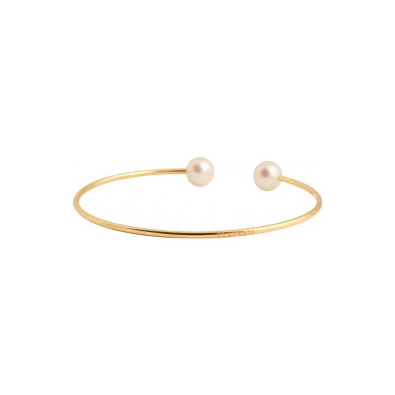 Bracelet Claverin Jonc en or jaune et perles blanches vue 1