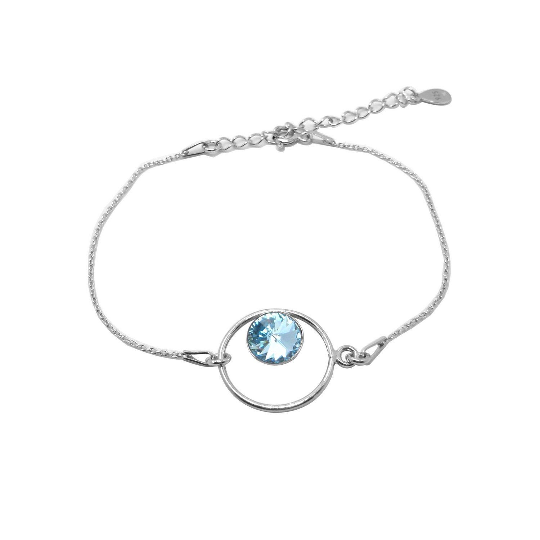 Bracelet Indicolite Josette en argent et cristaux Swarovski bleus clairs