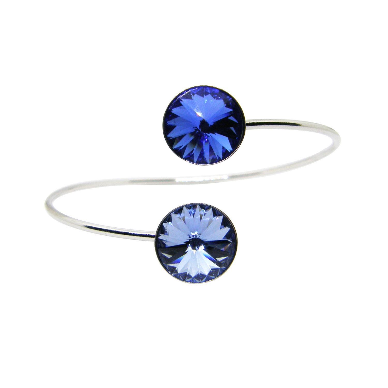 Bracelet Indicolite  en argent et cristaux Swarovski bleus