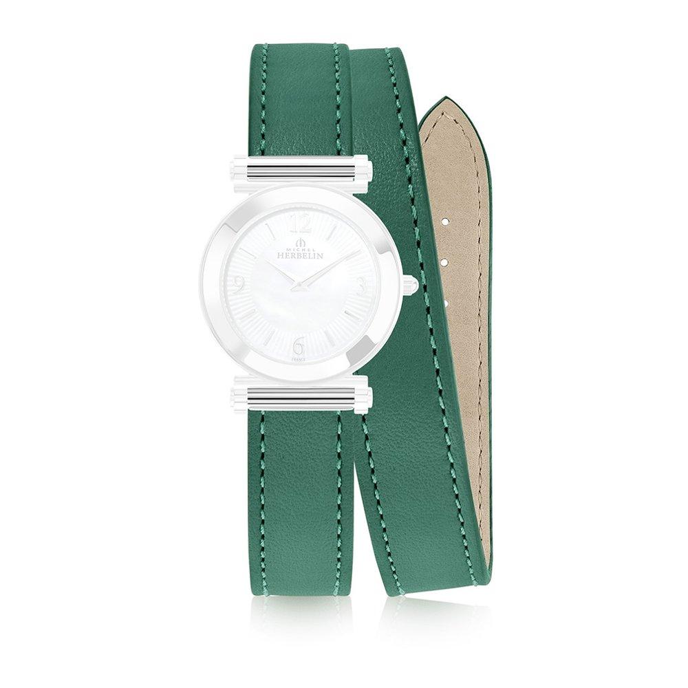 Bracelet Michel Herbelin Antarès en cuir vert vue 1