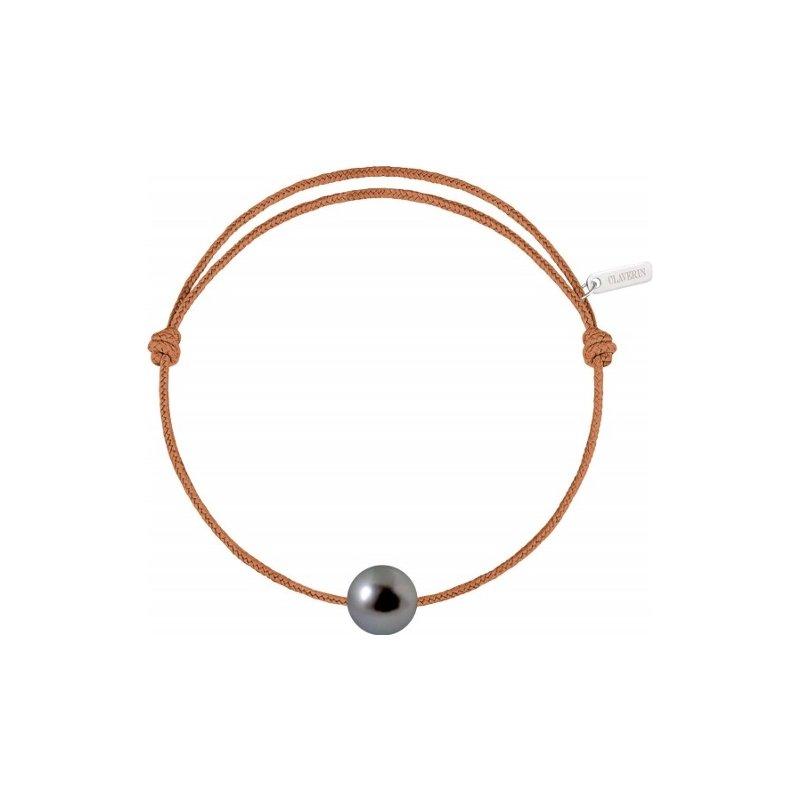 Bracelet sur cordon Claverin Unisex Cords en or blanc et perle de Tahiti vue 1