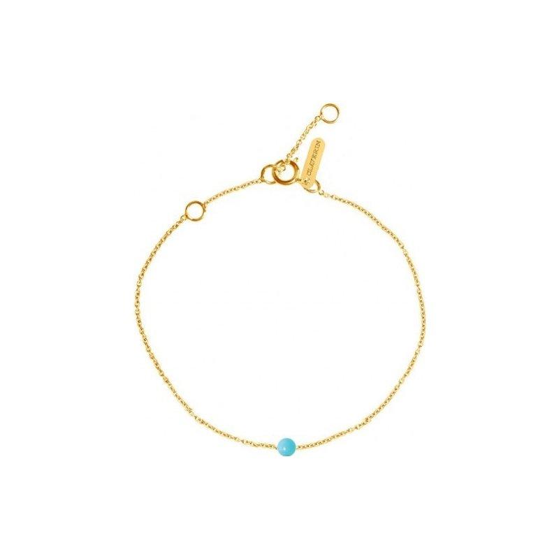 Bracelet Claverin Mini Simply Mini en or jaune et perle turquoise vue 1
