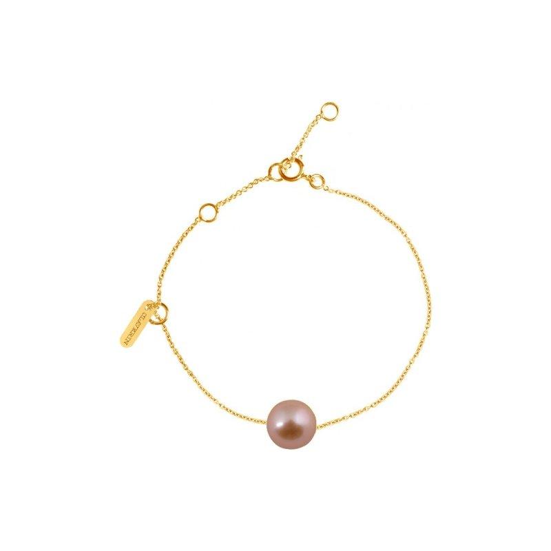 Bracelet Claverin Simply Pearly en or jaune et perle rose vue 1