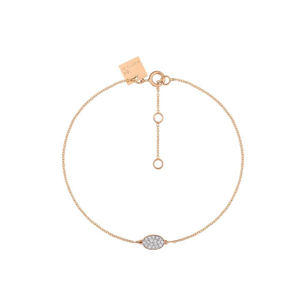 Bracelet GINETTE NY ELLIPSES & SEQUINS en or rose et diamants