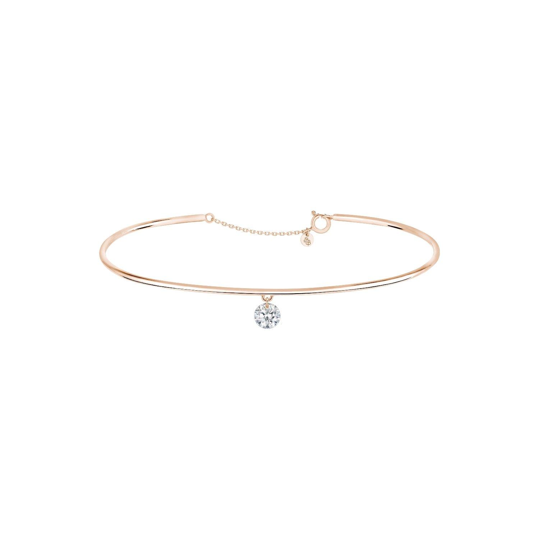 Bracelet jonc LA BRUNE & LA BLONDE 360° en or rose et diamant de 0.30ct