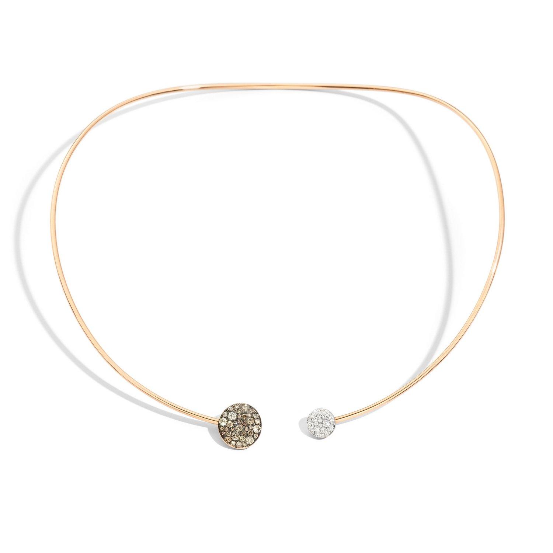 Collier Pomellato Sabbia en or rose, diamants bruns et diamants vue 1