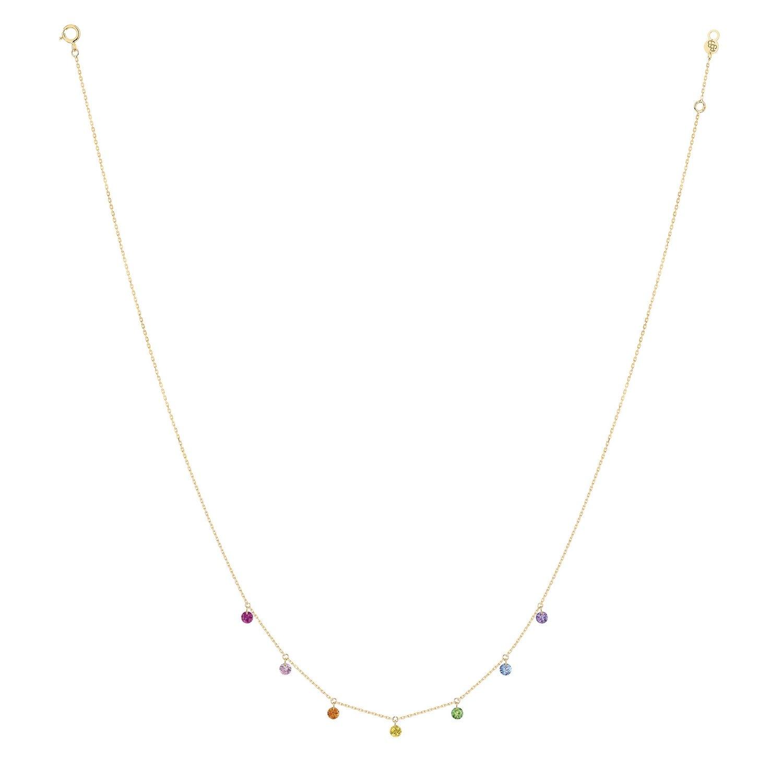 Collier LA BRUNE & LA BLONDE CONFETTI Rainbow en or jaune, rubis, saphirs rose, orange, jaunes, bleus, tsavorites et améthyste de 0.90ct