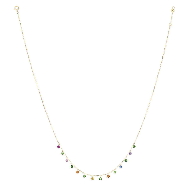 Collier LA BRUNE & LA BLONDE CONFETTI Pop en or jaune, rubis, saphirs rose, orange, jaunes, bleus, tsavorites et améthyste de 1.80ct