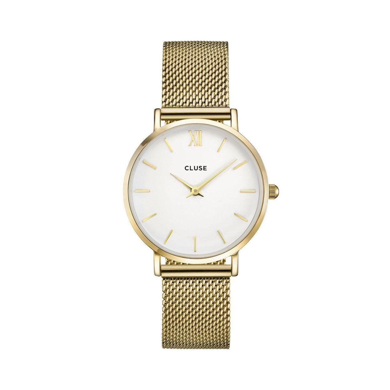 Montre Cluse Minuit Mesh Gold/White vue 1