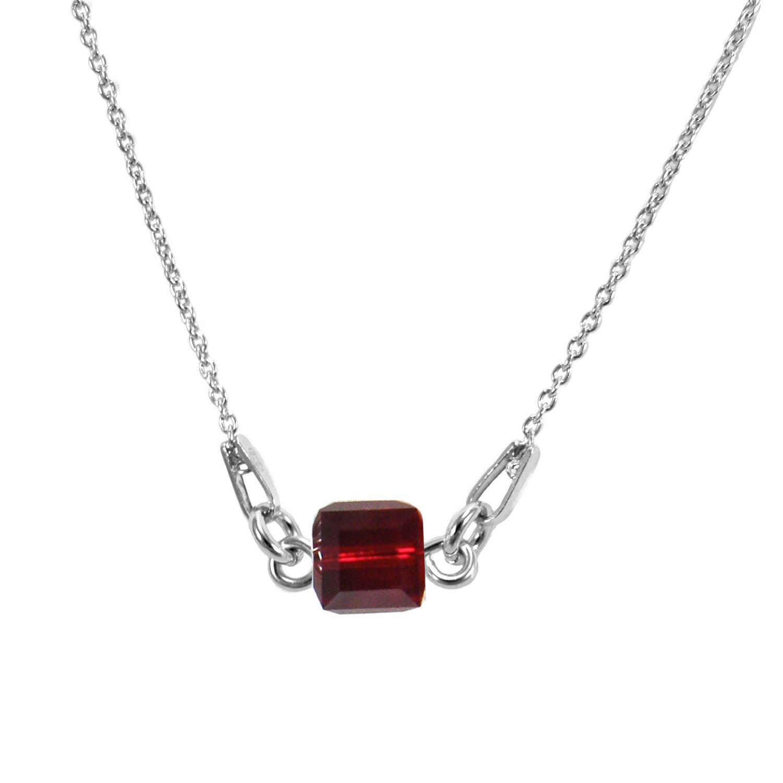 Collier Indicolite Pixel 3 Carré en argent et cristaux Swarovski rouges