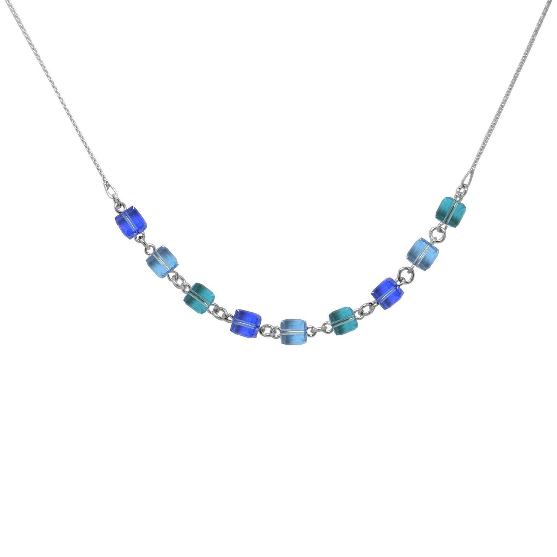 Collier Indicolite Pixel Cube en argent et cristaux Swarovski bleus