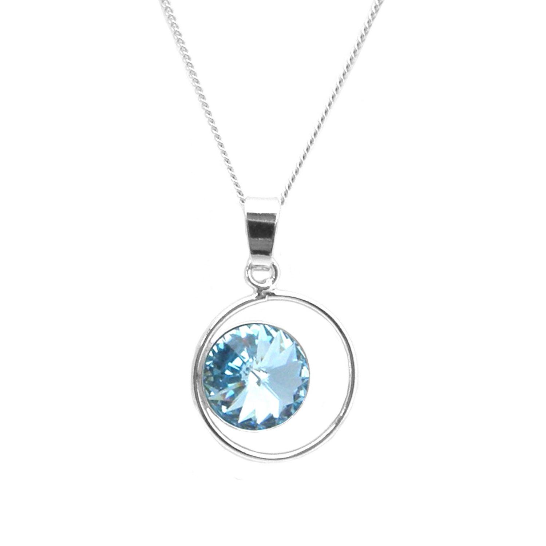 Collier Indicolite Juliette en argent et cristaux Swarovski bleus clairs