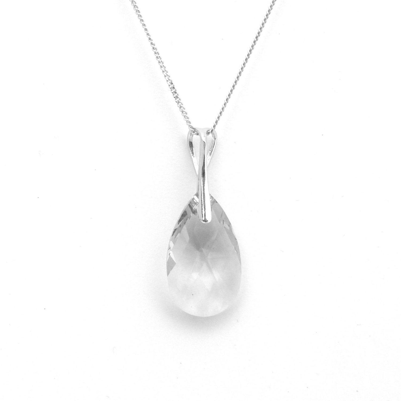 Collier Indicolite Larme en argent et cristaux Swarovski blancs