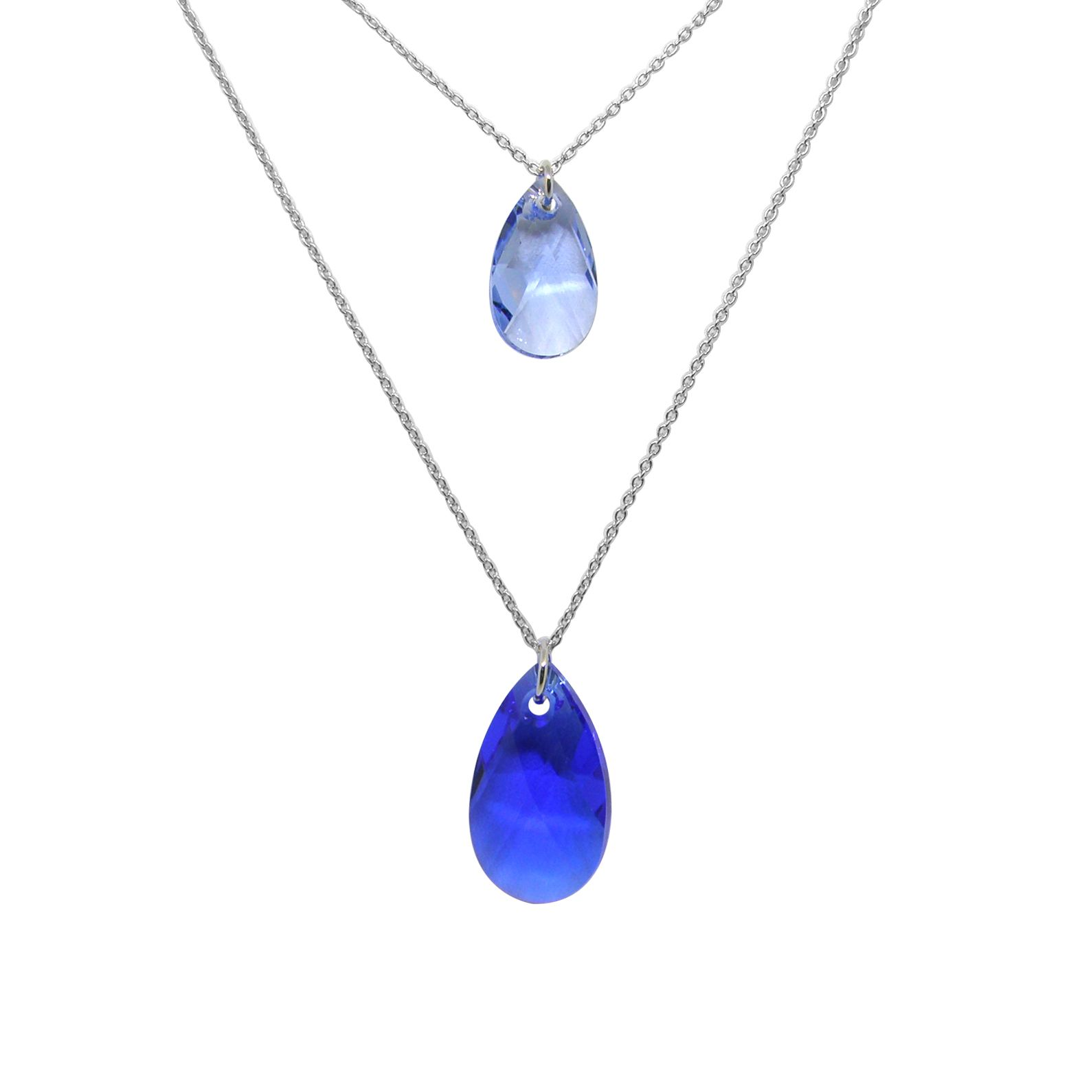 Collier Indicolite Sabine en argent et cristaux Swarovski bleus