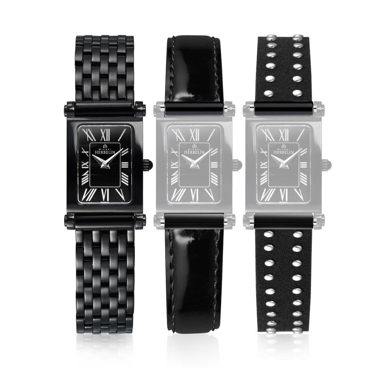 Coffret de montre Michel Herbelin Antarès Rock Chic Edition, bracelet acier et cuir vue 1