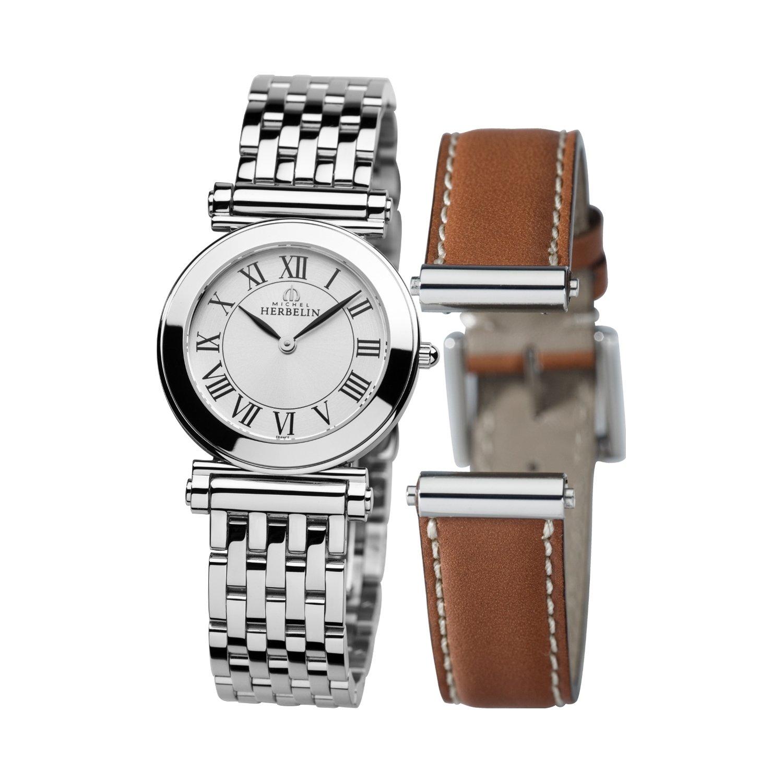 Coffret montre Michel Herbelin Antarès avec bracelets cuir et acier vue 1