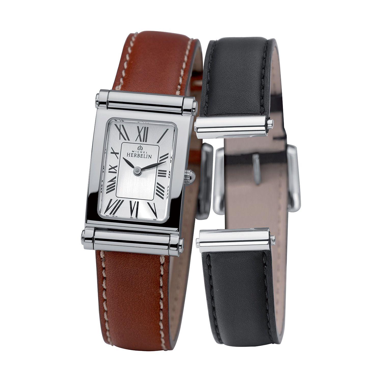 Coffret de montre Michel Herbelin Antarès et 2 bracelets cuir vue 1
