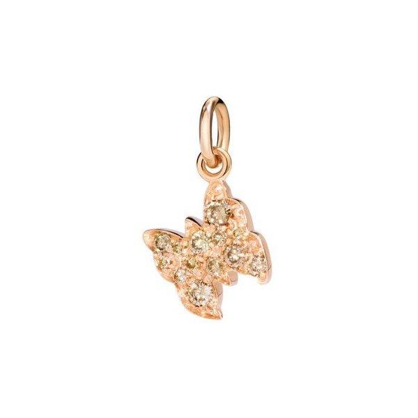 Pendentif sur cordon DoDo Papillon en Or rose et Diamant vue 1