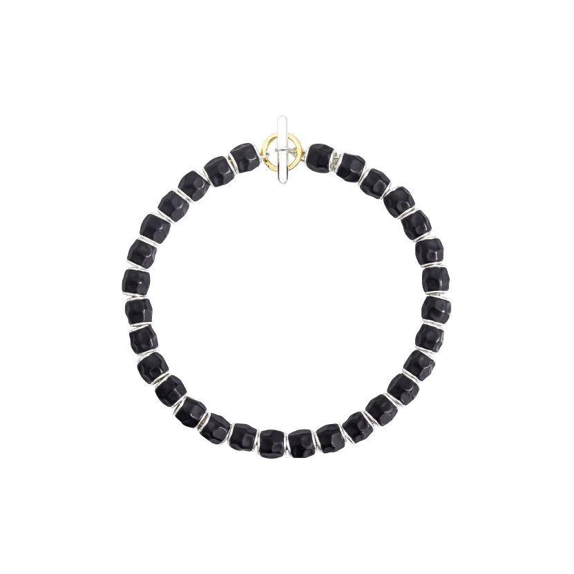 Bracelet DoDo Grains en Argent et résine noire longueur 17.5cm