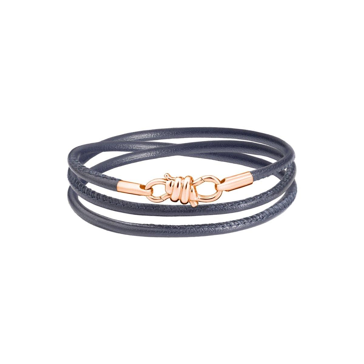 Bracelet sur cordon DoDo Nodo Bracelet Nodo en or rose et cuir gris, 17cm vue 1