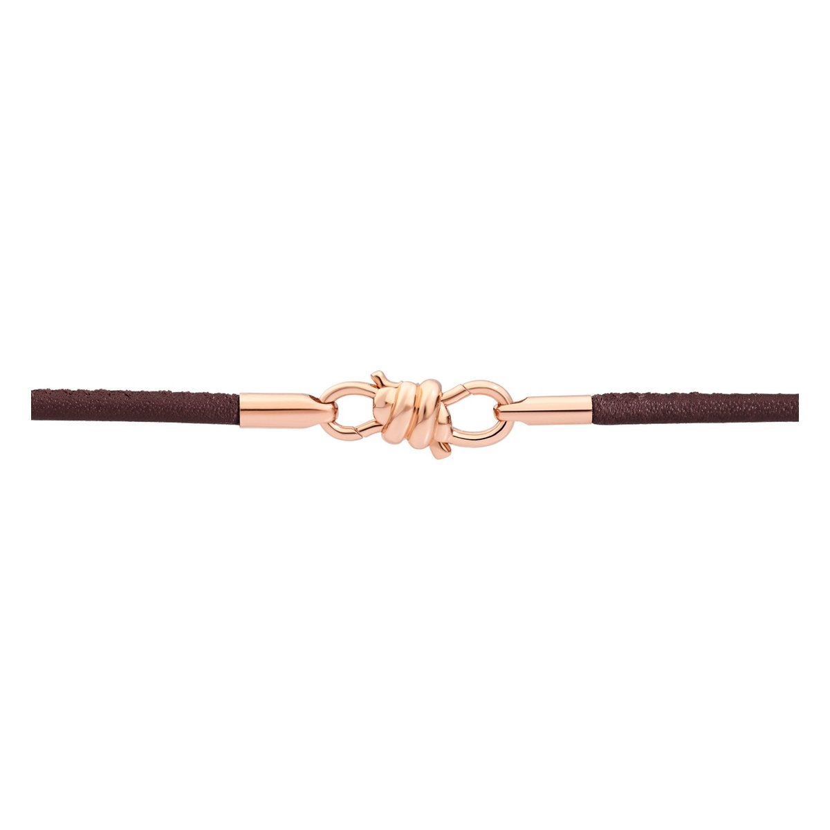 Bracelet sur cordon DoDo Nodo Bracelet Nodo en or rose et cuir moka, 17cm vue 2