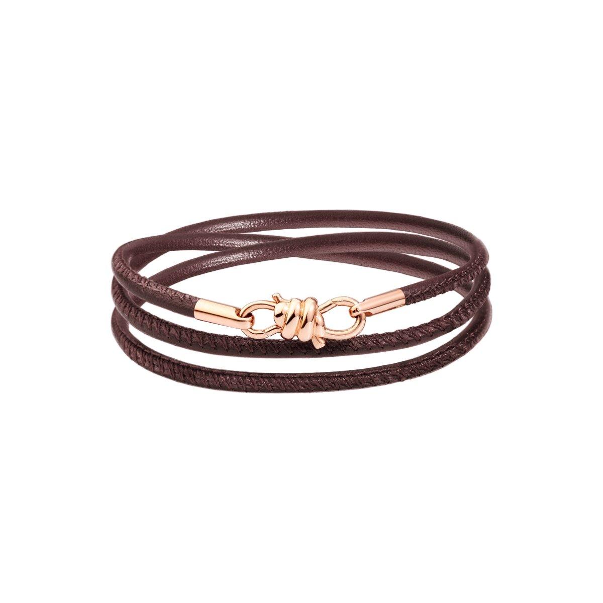 Bracelet sur cordon DoDo Nodo Bracelet Nodo en or rose et cuir moka, 17cm vue 1
