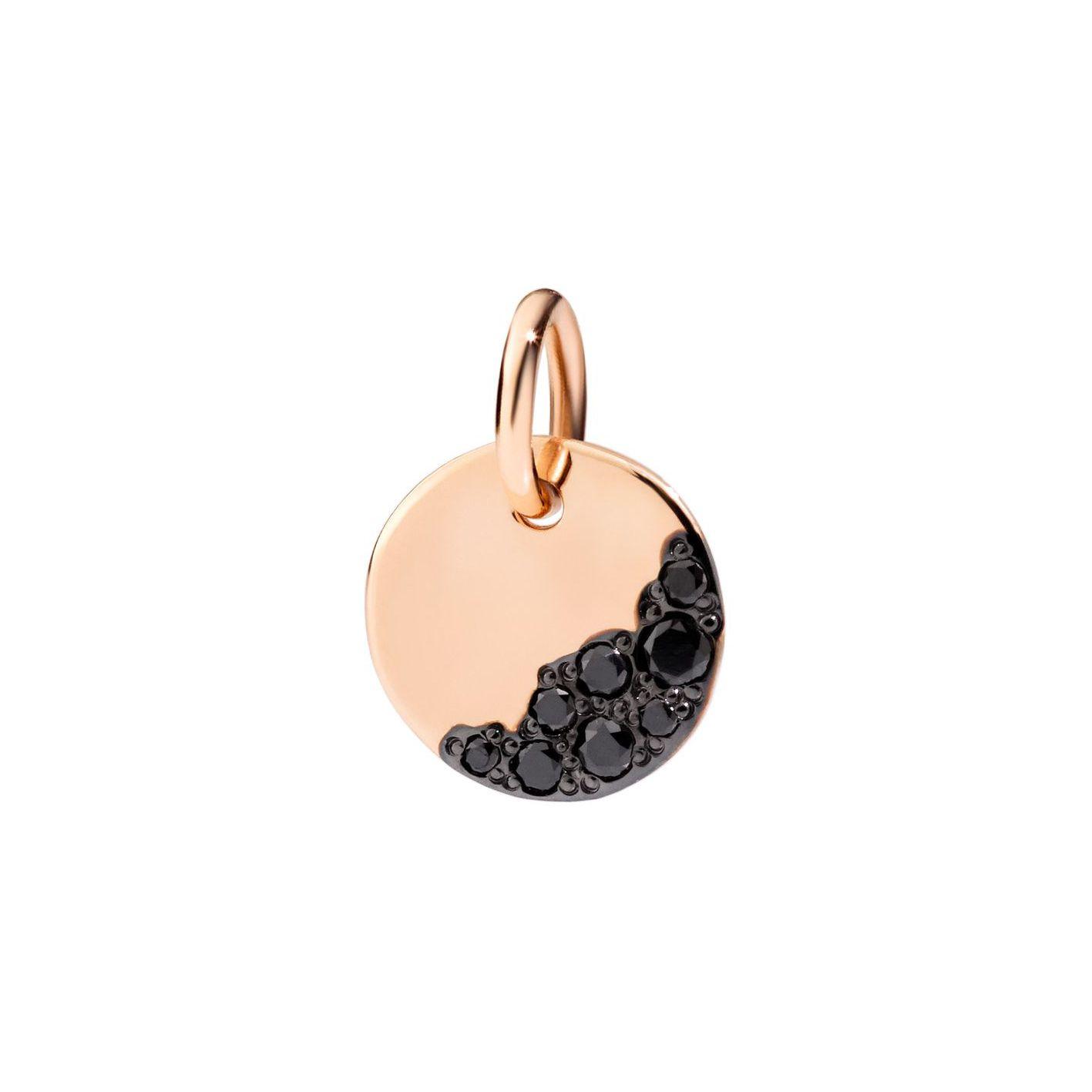 Pendentif Dodo night tag en or rose et diamants noirs vue 1