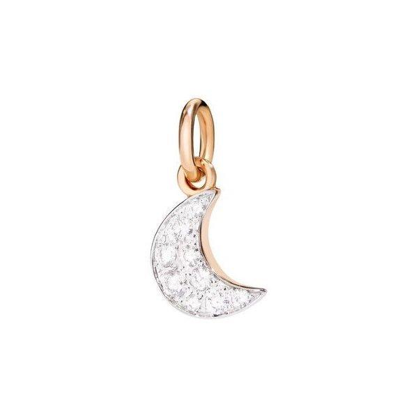Pendentif sur cordon DoDo Lune en Or rose et Diamant vue 1