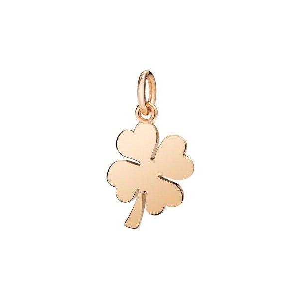 Pendentif sur cordon DoDo Trèfle à quatre feuilles en Or rose vue 1