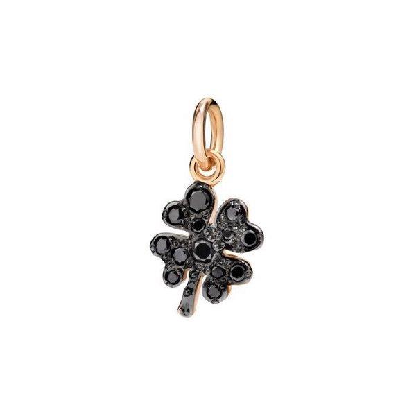 Pendentif sur cordon DoDo Trèfle à quatre feuilles en Or rose et Diamant noir vue 1