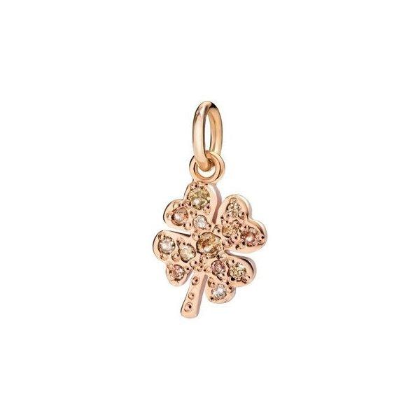 Pendentif sur cordon DoDo Trèfle à quatre feuilles en Or rose et Diamant brun vue 1