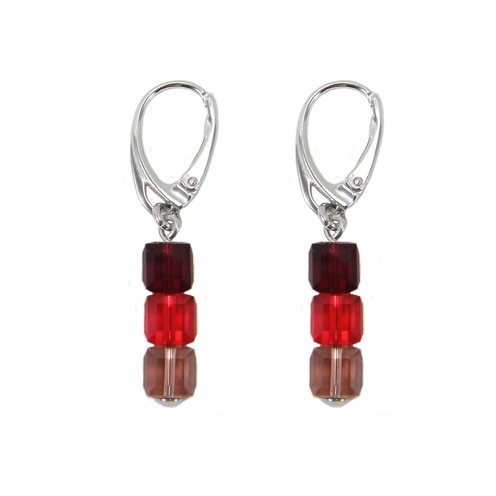 Boucles d'oreilles Indicolite Pixel 3 Carré en argent et cristaux Swarovski rouges