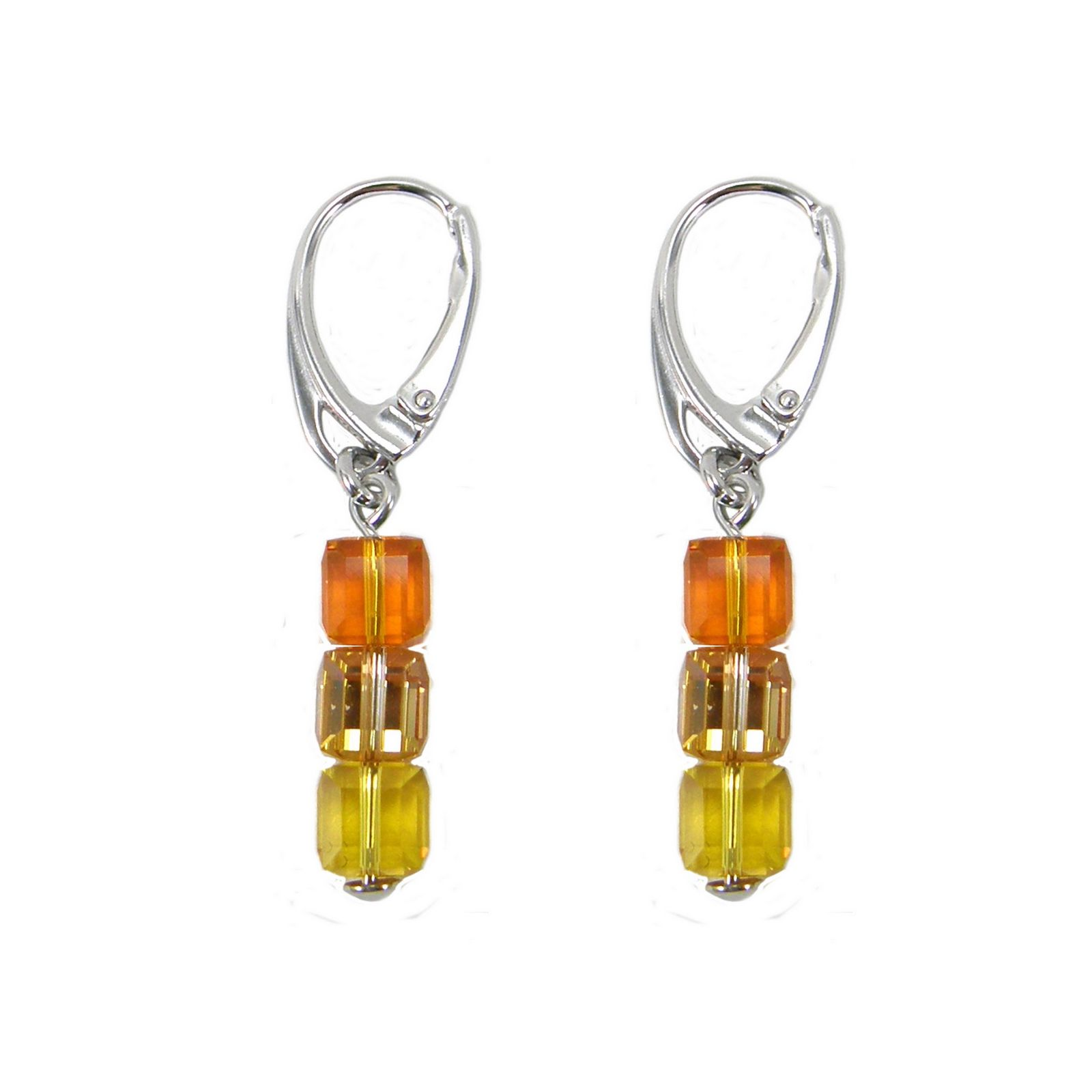 Boucles d'oreilles Indicolite Pixel 3 Carré en argent et cristaux Swarovski jaunes et oranges
