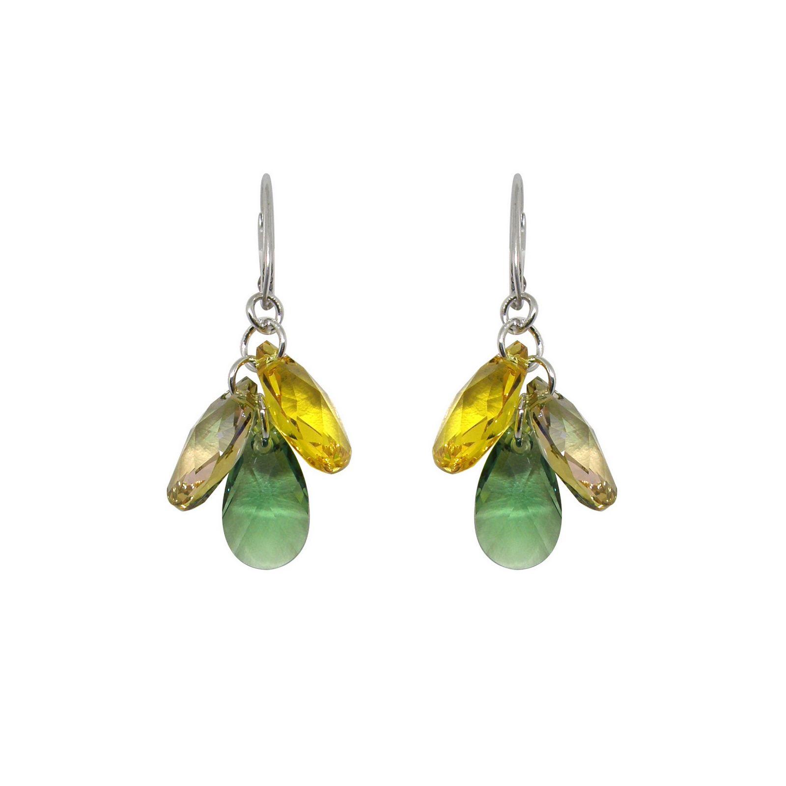 Boucles d'oreilles Indicolite Fleur en argent et cristaux Swarovski jaunes et verts