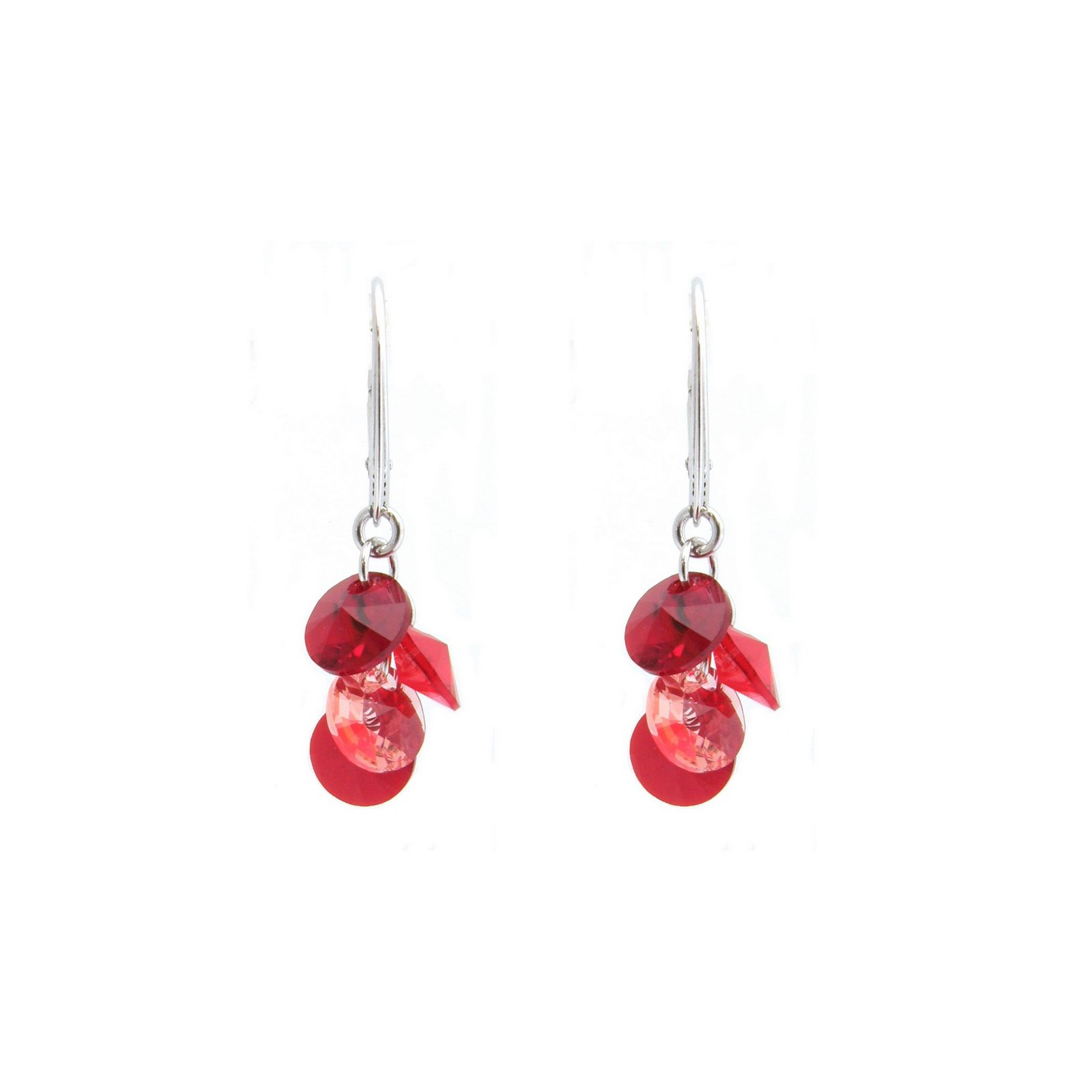 Boucles d'oreilles Indicolite Helen en argent et cristaux Swarovski rouges