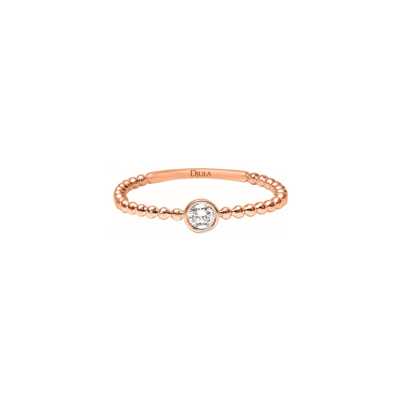 Solitaire Djula en or rose et diamants
