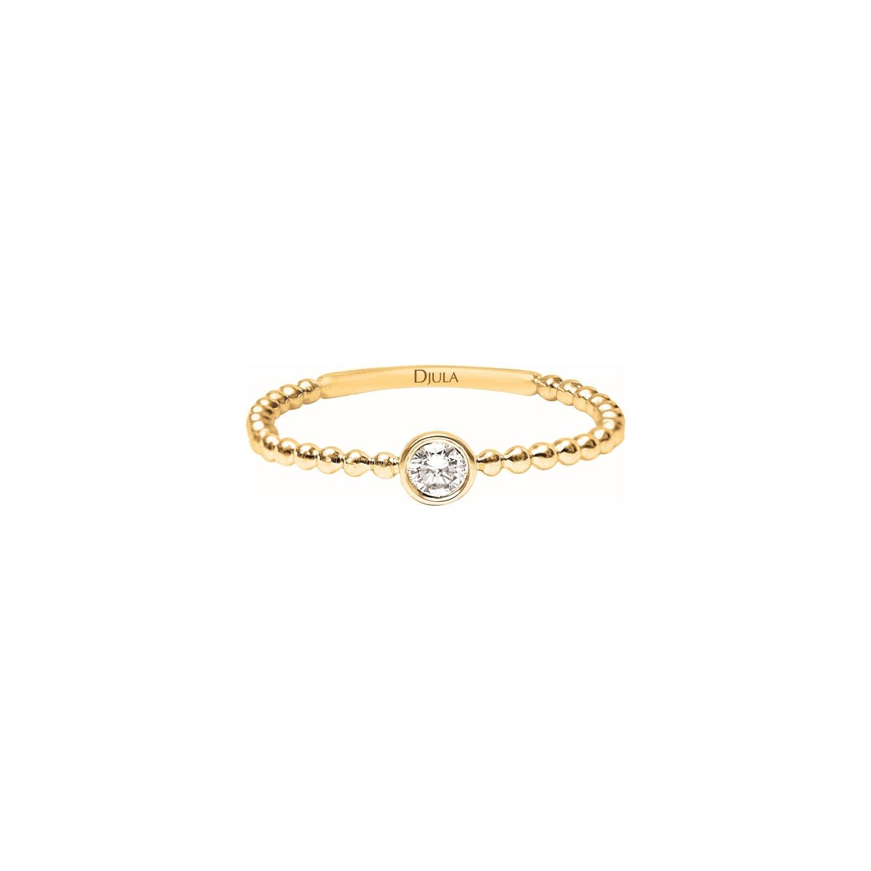 Solitaire Djula en or jaune et diamants