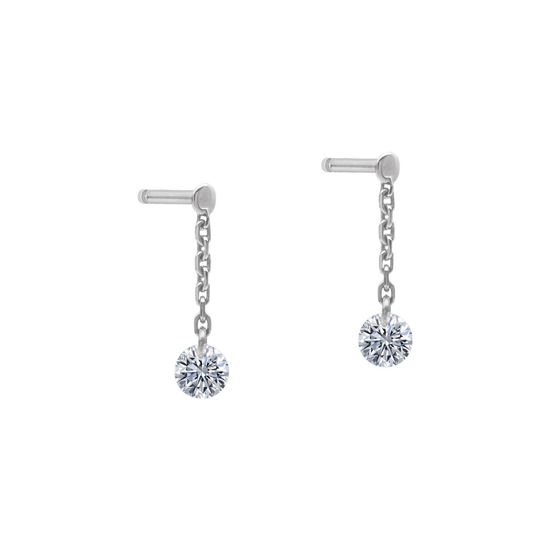 Boucles d'oreilles pendantes LA BRUNE & LA BLONDE 360° en or blanc et diamants de 0.14ct